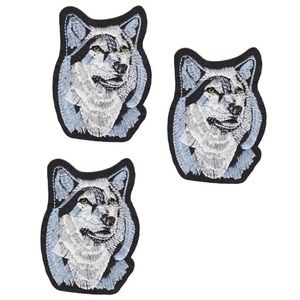 NEW 3-PACK ANIMAL PATCHES WOLF IRON ON BADGES 3PCS